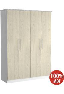 Guarda Roupa 4 Portas 100% Mdf 974 Branco/Marfim Areia - Foscarini