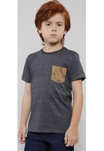 Camiseta Infantil Com Bolso Estampado De Flamingo Manga Curta Cinza Mescla Escuro