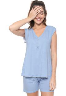 Pijama Malwee Liberta Maternidade Poá Azul
