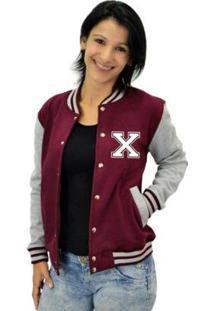 Jaqueta College Feminina Universitária Americana - Letra X - Feminino-Bordô