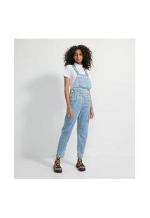 Macacão Jardineira Longo Jeans Com Recortes No Cós E Pregas