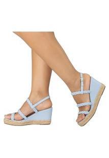 Sandalia Feminina Amorelle Anabela Corda Sapato Plataforma Azul 2