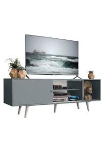 Rack Madesa Dubai Para Tv Até 65 Polegadas Com Pés Cinza/Branco 3Z09 Cor:Cinza