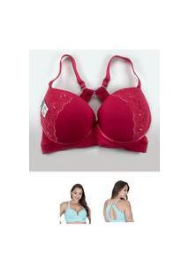 Sutiã Nadador Reforçado Com Bojo Detalhes Em Renda Rosa Pink E Pingente Nas Costas Plus Size Mafort