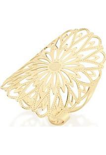 Anel Aro Aberto Com Parte Superior Vazada Em Forma De Flor Rommanel - Feminino-Dourado