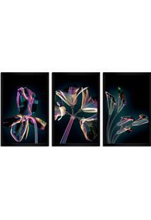 Quadro Oppen House 60X120Cm Flores Abstrato Transparentes Moldura Preta Estilo Raio-X Decorativo Interiores Mod:Oh007