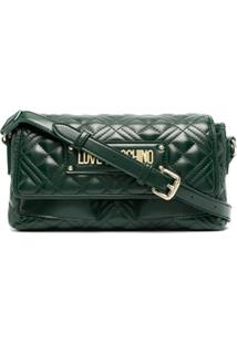 Love Moschino Long Quilted Cross-Body Bag - Verde