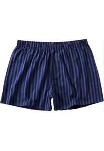 Short Azul Escuro Listrado Masculino