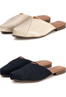 Kit Sapatilha Mule Slip Feminino Confort Bico Fino Verniz Croco Bege/Jeans - Jeans - Feminino - Sintã©Tico - Dafiti