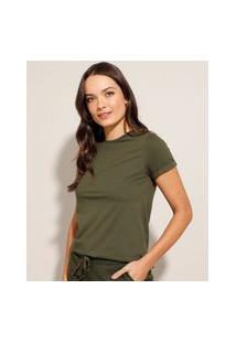 Camiseta Básica Manga Curta Dobrada Decote Redondo Verde Militar
