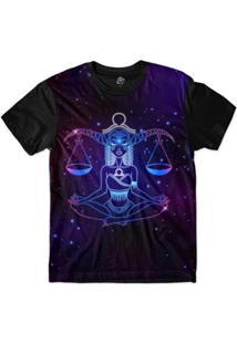 Camiseta Bsc Signos Ilustração Libra Sublimada Masculina - Masculino-Roxo