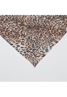 Lenço Animal Print- Bege & Preto- 66X133Cm- Johnjohnny D.