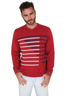 Suéter G'Dom Vermelho Frente Listrado