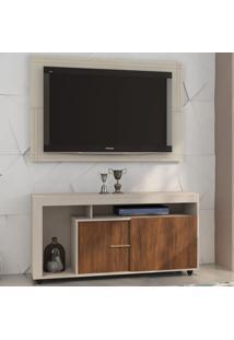 Rack Com Painel Para Tv Até 55 Polegadas 2 Portas Tripoli Off White/Seda - Viero Móveis