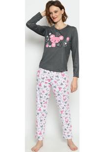 Pijama Ratinhos- Cinza Escuro & Branco- Zulaizulai