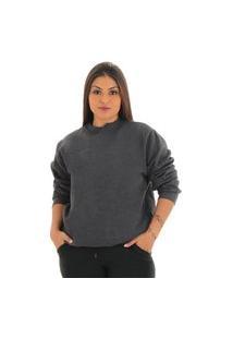 Blusa Moletom Lisa Feminina Sem Capuz Cinza Escuro
