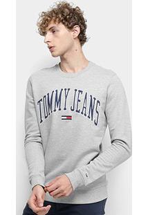 Moletom Tommy Jeans Clean Collegiate Crew Masculino - Masculino