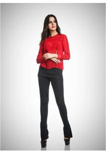 Camisa Due Tre Bia Detalahe Feminina - Feminino-Vermelho
