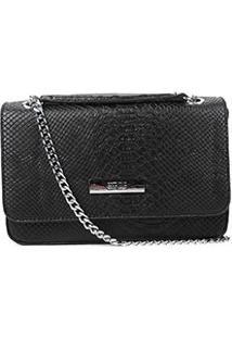 Bolsa Santa Lolla Mini Bag Snake Alça Corrente Feminina - Feminino-Preto