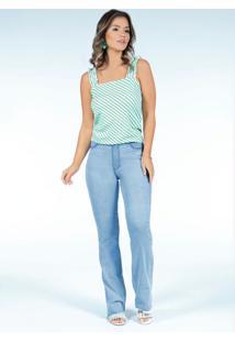 Calça Jeans Cintura Alta Reta Com Barra Desfiada