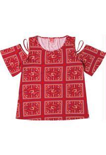 Blusa Vermelho Estampada Com Abertura
