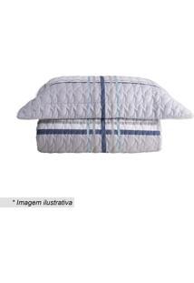 Conjunto De Colcha Grid King Size- Azul & Cinza- 3Pã§Sultan