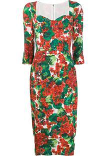 Dolce & Gabbana Vestido Midi Com Estampa Portofino - Vermelho