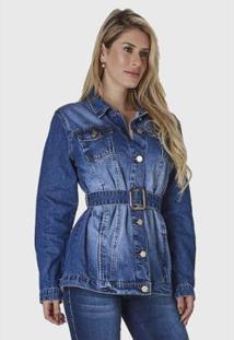Jaqueta Jeans Hno Jeans C/ Cinto E Fivela Feminina - Feminino-Azul