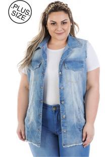 f050427346 ... Colete Plus Size - Confidencial Extra Jeans Maxi Vinil Com Elastano