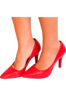 Scarpin Vermelho Scarlet Salto Fino.