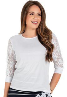 Blusa Branca Com Renda Moda Evangélica