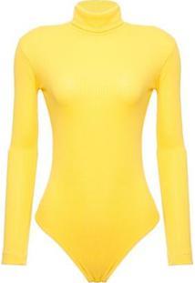 Body Canelado Samira Carolina Etz Feminino - Feminino-Amarelo