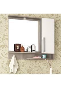 Espelheira Para Banheiro Com Led 1 Porta 2 Prateleiras Brisa Móveis Bosi Barrique/Branco