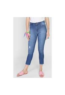 Calça Jeans Forever 21 Skinny Desgastes Azul
