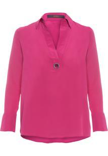 Camisa Feminina Polo Ilhós Lisa - Rosa