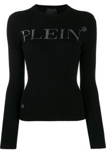 Philipp Plein Suéter Com Logo De Strass - Preto
