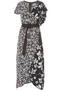 Isolda Vestido 'Aisha' Assimétrico - Preto&Branco