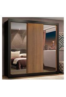 Guarda-Roupa Casal Madesa Lyon Plus 3 Portas De Correr Com Espelhos 4 Gavetas Preto/Rustic Preto