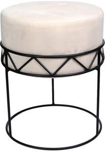 Puff De Ferro- Branco & Preto- 49Xã˜39Cm- Decor Gdecor Glass