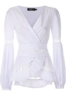 Patbo Blusa Com Recortes Rendados - Branco