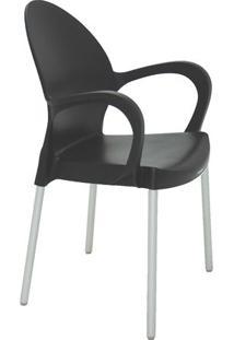 Cadeira Grace- Preta & Prateada- 87,5X58X53,5Cm-Tramontina