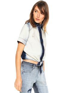 Camisa Jeans Cropped Lança Perfume Amarração Azul