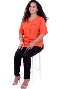 Blusa Camila Pompom Plus Size Vickttoria Vick Plus Size Laranja