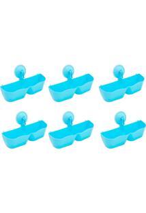 Kit 6 Sapateiras Organizadoras De Plástico Parede Com Ventosa Azul - Kanui