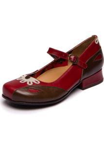 Sapato Mzq Boneca Em Couro - Amora / Chocolate / Araçá 5774