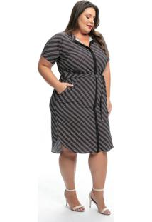 Vestido Plus Size Listras Cinzas Com Faixa