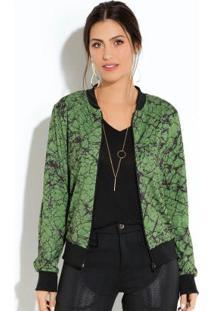 Jaqueta Quintess Bomber Marmorizado Verde