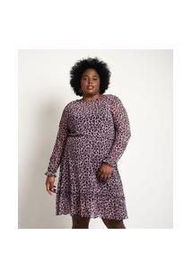 Vestido Curto Em Tule Estampa Animal Print Curve & Plus Size   Ashua Curve E Plus Size   Roxo   G