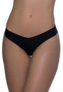 Kit Calcinha Modelo Tanga Sem Costura 3 Peças - Feminino-Branco+Preto