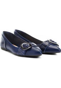 Sapatilha Couro Shoestock Croco Feminina - Feminino-Azul